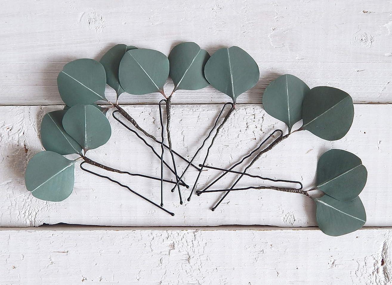 Eucalyptus Leaves Hair Pins Set of 6 Green Hairpiece Greenery Wedding headpiece Handmade Accessory