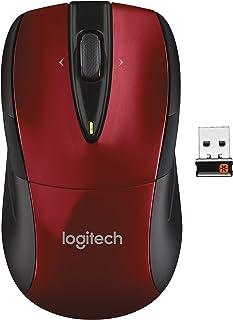 Logitech M525 - Ratón (RF inalámbrico, Oficina, Rueda, Óptico, Portátil, Vertical), Color Rojo (Reacondicionado)