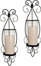 Danya B San Remo Wall Candle Sconce Set with Glass Hurricanes - Wrought Iron - Set of 2- Easy to Hang - Contemporary Home ...