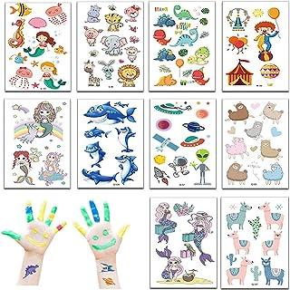 Guizu tatuering barn, djurtema tatueringar set vattentät lim barntatueringar dekal schabloner för flickor pojkar barnkalas...