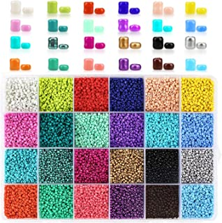 Phogary 24000pcs Glass Seed Beads, 24 Colors Small Pony Beads Assorted Kit Opaque Colors Lustered Loose Spacer Beads, 2mm Round, Hole 0.6mm for Jewelry Making, DIY Crafting
