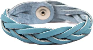 Essential Oil Aromatherapy Diffuser Bracelet, Braided Leather, Unisex (Small, Light Blue)