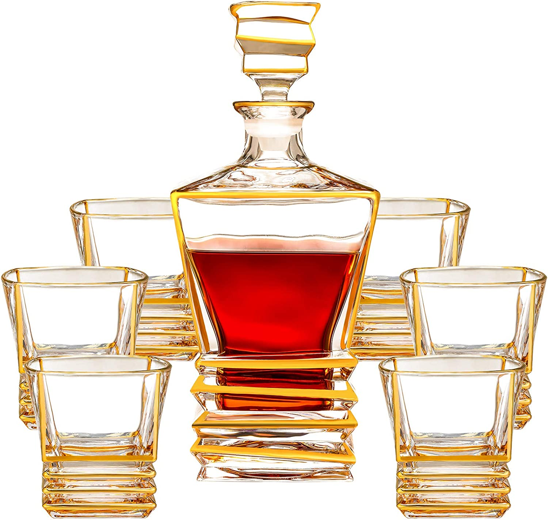SALADAYS 7-Piece Whiskey Memphis Mall Decanter Gold 25% OFF Trim Decante Set