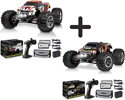 wholesale 1:10 Scale Large RC Cars 50+ kmh Speed discount - Boys Remote Control Car 4x4 Off Road Monster Truck Electric - All Terrain Waterproof Toys Trucks for Kids wholesale and Adults - Red-Orange and Black-Red Bundle Pack outlet online sale