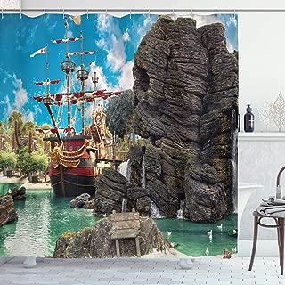pirate ship on island