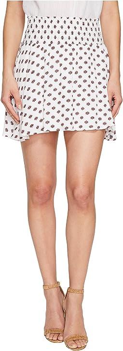 """Falana """"Saharan Geo"""" Printed Crinkle Poly Smocked Skirt"""