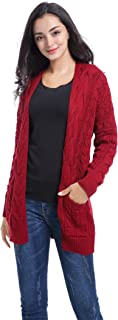 v28 Women Vintage Cable Knitted Button Long Sleeves Coat Sweater Cardigan