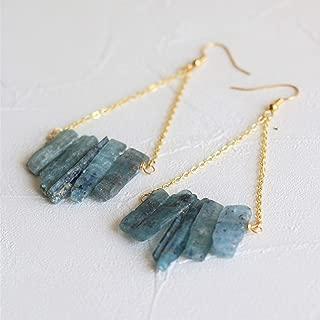 Blue kyanite earrings, raw crystal earrings, gemstone earrings,raw quartz earrings,rough gemstone earrings, crystal dangle earrings