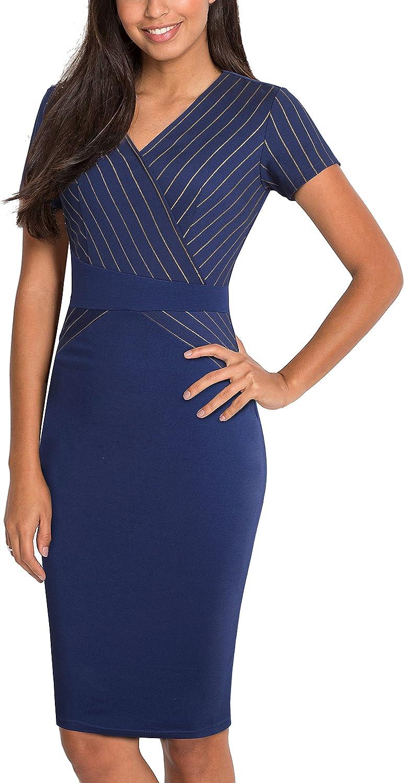 HOMEYEE Women's Business Retro Stripes Slim Cocktail Pencil Dress B436