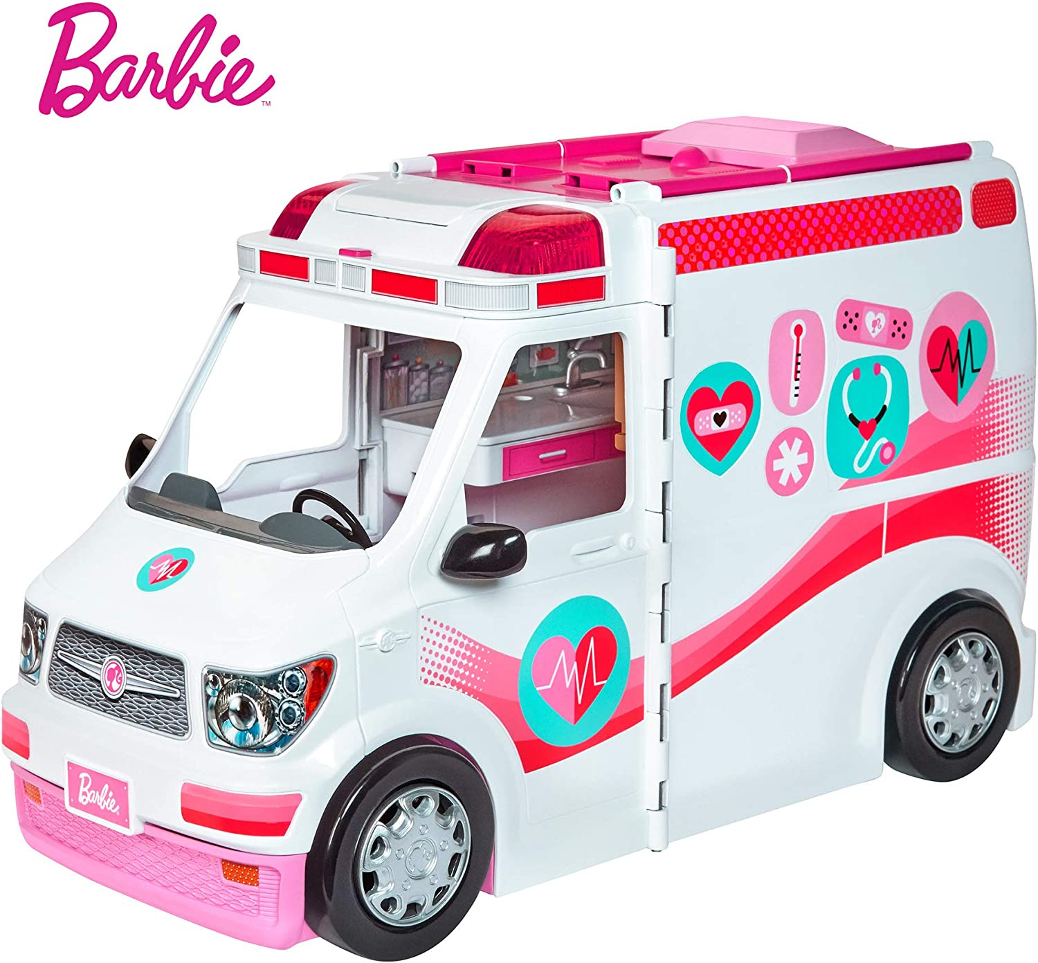 Barbie FRM19 CAREERS Care Clinic Ambulance, Play, Role Model, Lights and Sounds, Lots of Accessories Vehicle, MultiColour, 0