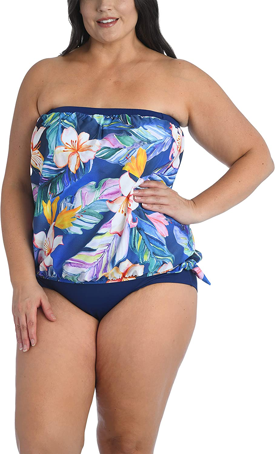Maxine Of Hollywood Women's Plus-Size Bandeau Tankini Swimsuit Top