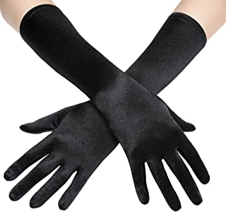 Long Opera Party 20s Satin Gloves Stretchy Adult Size Elbow Length 15 Inches