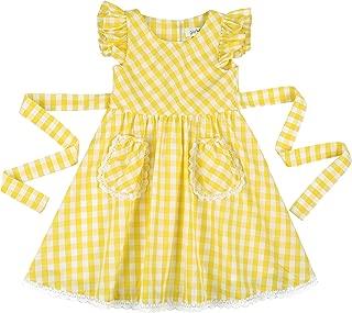 gingham school dress yellow