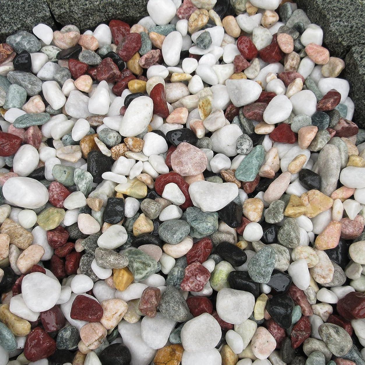 発信ピュー積極的に天然石 玉石砂利 1-2cm 60kg 五色砂利 (ガーデニングに最適 5色砂利)