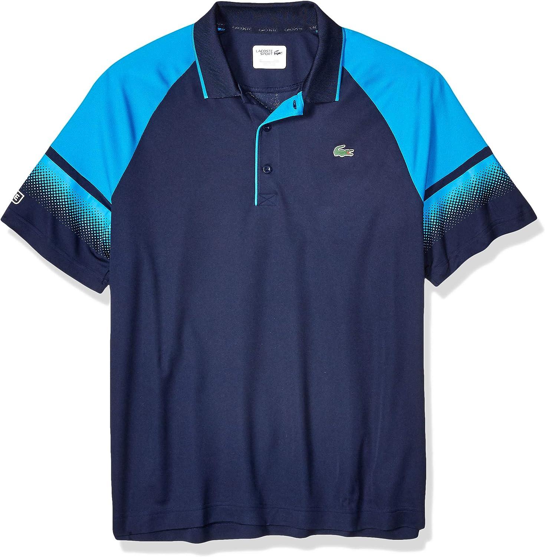 Lacoste Mens Sport Short Sleeve Ultra Dry Raglan Polo W//Gradient Print