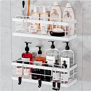 BESONT浴室ラック 二セット シャンプーラック 調味料ラック 強力粘着固定 オフィス/お風呂場/キッチン/洗面所ラック (ホワイト)