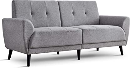 """Ivinta Living Room Couch Sofa Linen Fabric Tufted Mid-Century Modern Bench Loveseat Sofa, 71"""" Small Sofa (Grey)"""