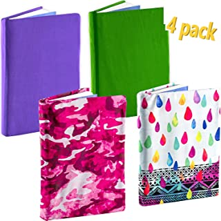 Define Essentials Book Sox Jumbo Stretchable Book Cover Fits Hardcover Textbooks up to 9 x 11 Inches (Bright 2, 4 Pack)