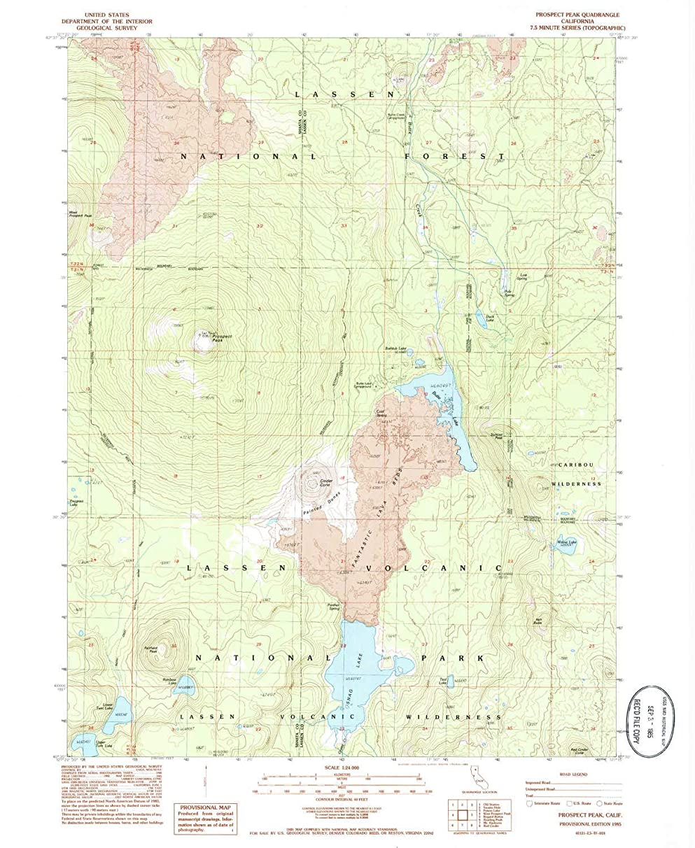 YellowMaps Prospect Peak CA topo map, 1:24000 Scale, 7.5 X 7.5 Minute, Historical, 1985, Updated 1985, 26.7 x 21.9 in