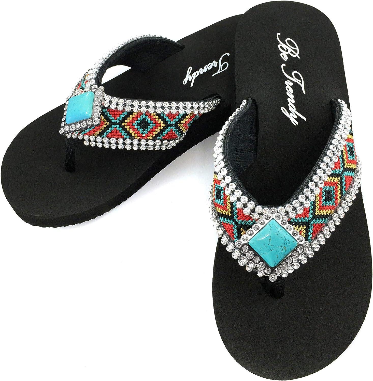 Western Peak Women's Aztec Rhinestones Turquoise Diamond Concho
