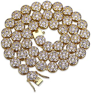1 Row 14K Hip Hop Cluster Simulated Diamond Iced Out CZ Tennis Chain Link Necklace for Men