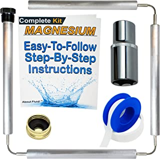About Fluid | MAGNESIUM Flexible Anode Rod Kit for Water Heaters | Teflon Tape | Easy-To-Follow, Step-By-Step Instructions | 44 Inches Long. (Complete Kit)