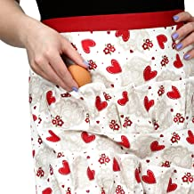 Cackleberry Home Egg Collecting & Gathering Apron 12 Pockets, Hearts & Lace