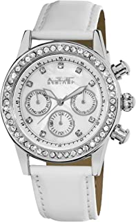 August Steiner Women's Multifunction Fashion Watch with Crystal Bezel - Silver Case with White Dial and Crystal Hour Marke...
