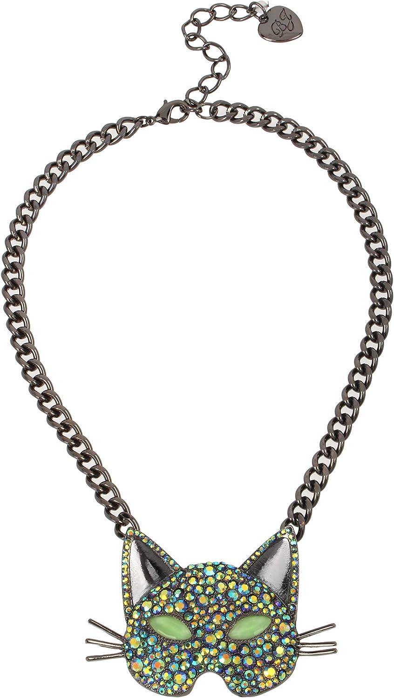 Betsey Johnson Pave Cat Pendant Necklace