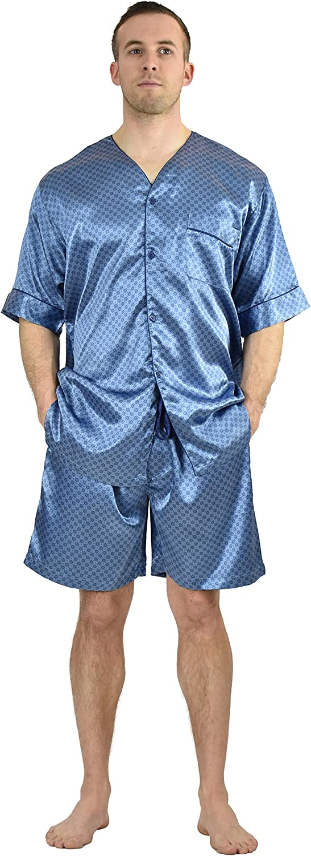 Men's Satin Tie Print S/S Shorts Pajama Set