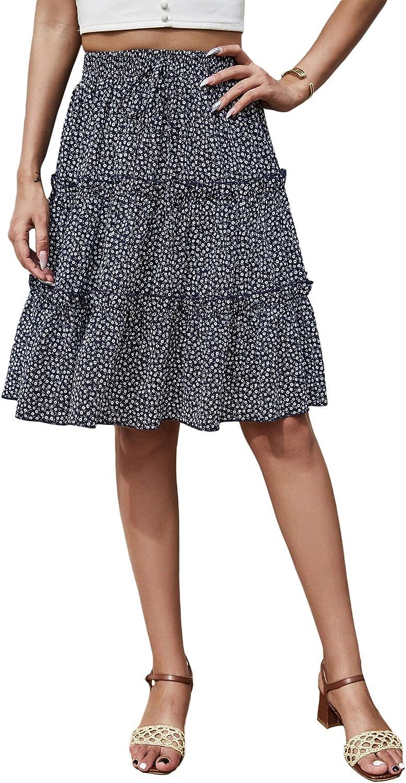 Floerns Women's Summer Ditsy Floral Ruffle Hem High Waist Boho Mini Skirt