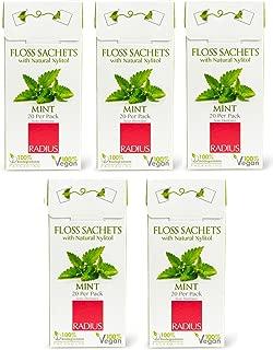 RADIUS Vegan xylitol Floss Sachets Mint (Pack of 5), 20 Sachetsper Pack