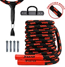 XGEAR Heavy Battle Rope with Upgraded Polyester Cover,Anchor Strap Kit/Wall Hanger Included - High Tensile Strength Poly D...