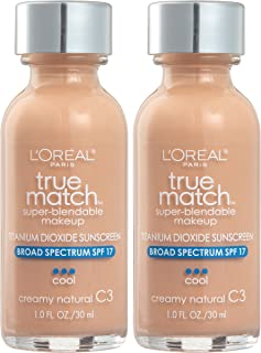 L'Oreal Paris Cosmetics True Match Super-Blendable Foundation Makeup, Creamy Natural C3, 2 Count