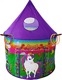 Playz Unicorn Toys Play Tent for Girls with Unicorn Ring Toss, Candy Board Game, & Tic Tac Toe - Indoor & Outdoor Pop up P...