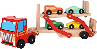 TOWO Wooden Car Transporter Toy Double Decker Trailer with 4 Cars ramp Racer - Wooden car Toy Truck Carrier for 3 Years Ol...