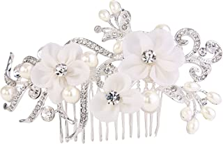 BriLove Women's Fashion Crystal Wedding Bridal Filigree Flower Ivory Color Simulated Pearl Hair Comb Clear Silver-Tone