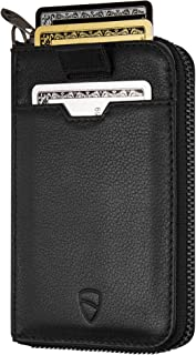Vaultskin NOTTING HILL Slim Zip Wallet with RFID Protection for Cards Cash Coins (Black)