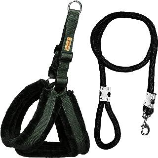 Petshop7 Premium Qualtiy Fur Padded Nylon Dog Harness & Leash Rope 1inch - Large (Chest Size - 28-32inch)