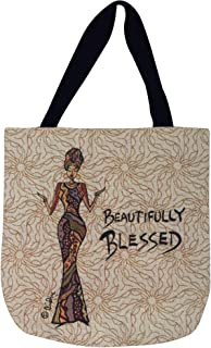 Shades of Color Woven Tote Bag, Beautifully Blessed, 17 x 17 inches (WTB004)
