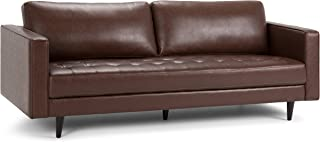 Simpli Home Blaine Mid Century Modern 89 inch Wide Sofa in Distressed Cognac Faux Air Leather