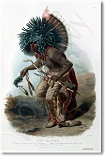 Moenitarri Native American Warrior in the Costume of the Dog Dance - 1840 - NEW Classroom Social Studies Poster