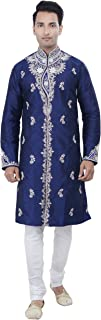 Rajwada Ethnic Indian Design Royal Blue Kurta Sherwani for Men 2pc