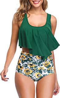 Best Swimsuit for Women Two Piece Bathing Suit Top Ruffled Racerback High Waisted Tankini Review