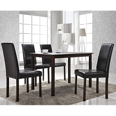 Amazon Com Baxton Studio 5 Piece Andrew Modern Dining Set Table Chair Sets