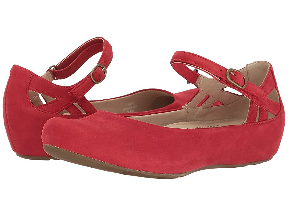 Retro Vintage Flats and Low Heel Shoes Earth Capri Earthies Bright Red Soft Buck Womens Shoes $149.95 AT vintagedancer.com