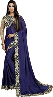 Sabaira Women's Kashmiri Silk Blue Embroidery Saree (SBRSA3155_Blue_Free Size)