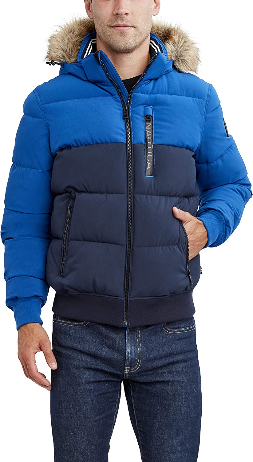 Nautica Men's Puffer Jacket with Challenge the lowest price Max 65% OFF Wind Hood and Removable Water