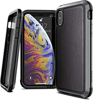 iPhone X Case, X-Doria Defense Lux Series - Military Grade Drop Tested, Anodized Aluminum, TPU, and Polycarbonate Case for Apple iPhone X, [Black Leather]