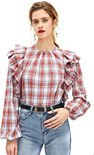 Women's Lantern Sleeve Layered Ruffle Trim Plaid Blouse Top
